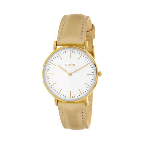 Clueless Montre Femme - Collection Classic - Cuir Or - Cadran Blanc | BCL10072-100