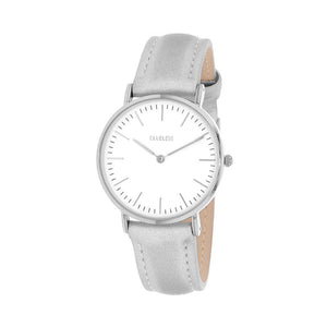 Clueless Montre Femme - Collection Classic - Cuir Gris - Cadran Blanc | BCL10072-200