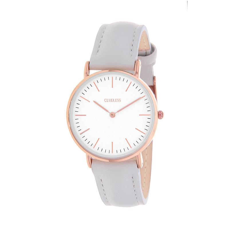 Clueless Montre Femme - Collection Classic - Cuir Gris - Cadran Blanc | BCL10072-806