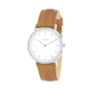 Clueless Montre Femme - Collection Classic - Cuir Le Tabac - Cadran Blanc | BCL10072-201