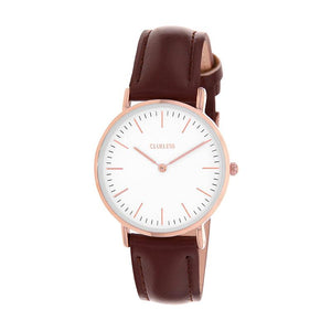 Clueless Montre Femme - Collection Classic - Cuir Marron - Cadran Blanc | BCL10072-808