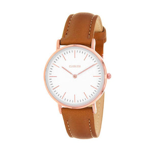 Clueless Montre Femme - Collection Classic - Cuir Le Tabac - Cadran Blanc | BCL10072-811