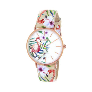 Clueless Montre Femme - Collection Tropical - Cuir Multicolore - Boitier Rose Gold | BCL10031-001