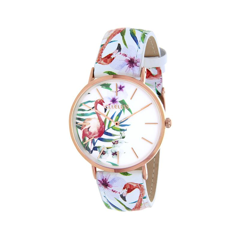 Clueless Montre Femme - Collection Tropical - Cuir Multicolore - Boitier Rose Gold | BCL10031-002