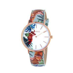 Clueless Montre Femme - Collection Tropical - Cuir Multicolore - Boitier Rose Gold | BCL10031-003