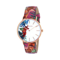 Clueless Montre Femme - Collection Tropical - Cuir Multicolore - Boitier Rose Gold | BCL10031-004
