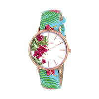 Clueless Montre Femme - Collection Tropical - Cuir Multicolore - Boitier Rose Gold | BCL10031-008