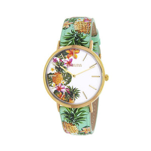 Clueless Montre Femme - Collection Tropical - Cuir Multicolore - Boitier Dore | BCL10031-011