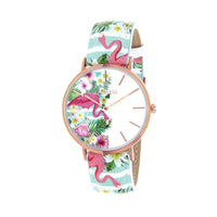 Clueless Montre Femme - Collection Tropical - Cuir Multicolore - Boitier Rose Gold | BCL10031-013