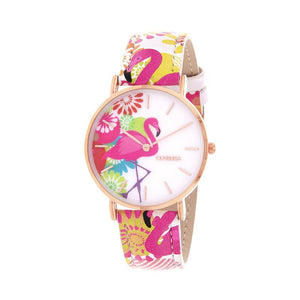 Clueless Montre Femme - Collection Tropical - Cuir Multicolore - Boitier Rose Gold | BCL10031-020