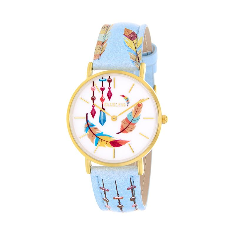 Clueless Montre Femme - Collection Tribal - Cuir Multicolore - Boitier Dore | BCL10031-034