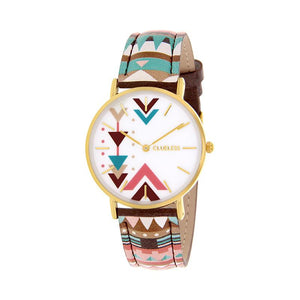 Clueless Montre Femme - Collection Tribal - Cuir Multicolore - Boitier Dore | BCL10031-035