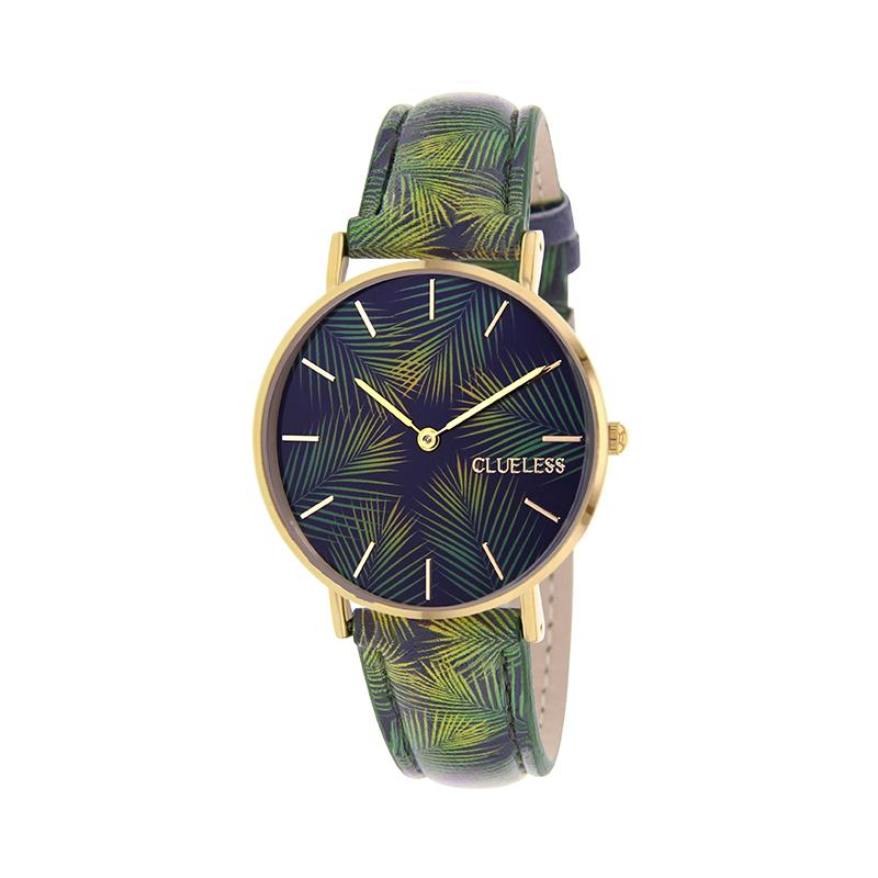 Clueless Montre Femme - Collection Tropical - Cuir Multicolore - Boitier Dore | BCL10031-063