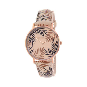 Clueless Montre Femme - Collection Tropical - Cuir Multicolore - Boitier Rose Gold | BCL10031-064
