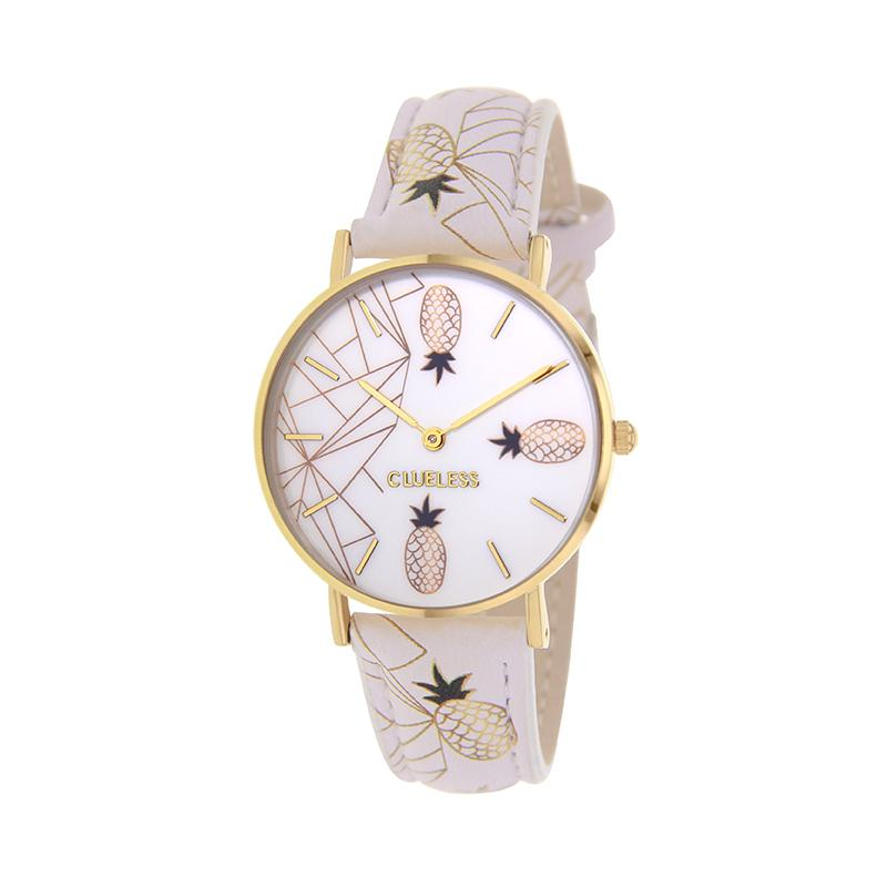 Clueless Montre Femme - Collection Tropical - Cuir Multicolore - Boitier Dore | BCL10031-066