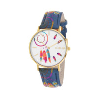 Clueless Montre Femme - Collection Tribal - Cuir Multicolore - Boitier Dore | BCL10031-069