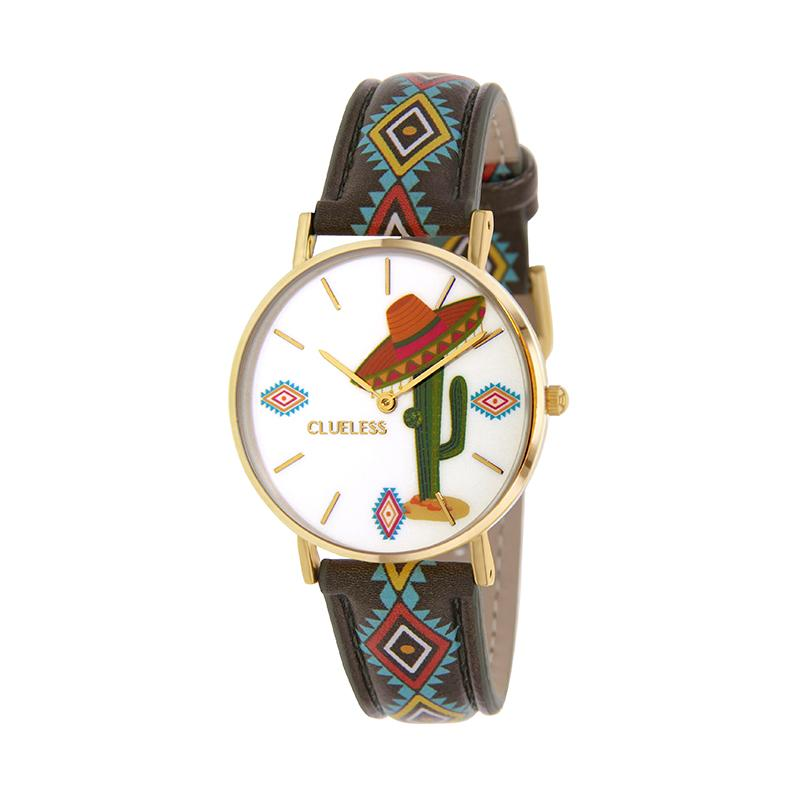 Clueless Montre Femme - Collection Society - Cuir Multicolore - Boitier Dore | BCL10031-071