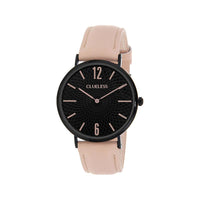 Clueless Montre Femme - Collection Classic - Cuir Rose - Cadran Noir | BCL10012-911