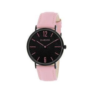 Clueless Montre Femme - Collection Classic - Cuir Rose - Cadran Noir | BCL10012-912