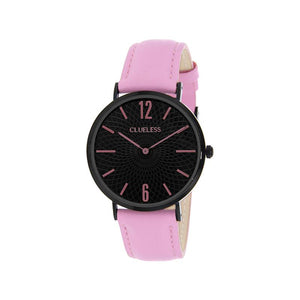 Clueless Montre Femme - Collection Classic - Cuir Rose - Cadran Noir | BCL10012-915