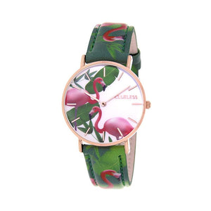 Clueless Montre Femme - Collection Tropical - Cuir Vert - Cadran Multicolore | BCL10031-076