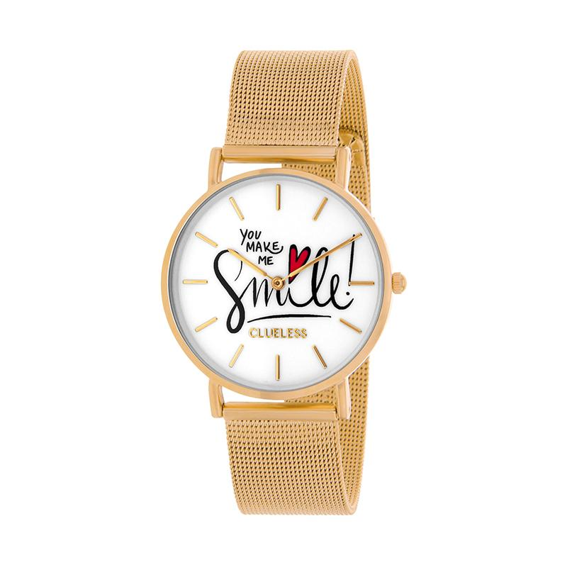 Clueless Montre Femme - Collection Happy - Cuir Multicolore - Boitier Dore | BCL10034-058