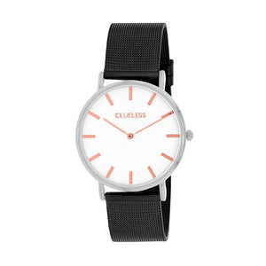 Clueless Montre Femme - Collection Classic - Mesh Noir - Cadran Blanc | BCL10004-001