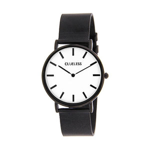 Clueless Montre Femme - Collection Classic - Mesh Noir - Cadran Blanc | BCL10004-006