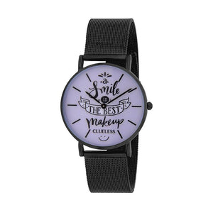 Clueless Montre Femme - Collection Happy - Cuir Noir - Cadran Stainless Steel | BCL10034-052