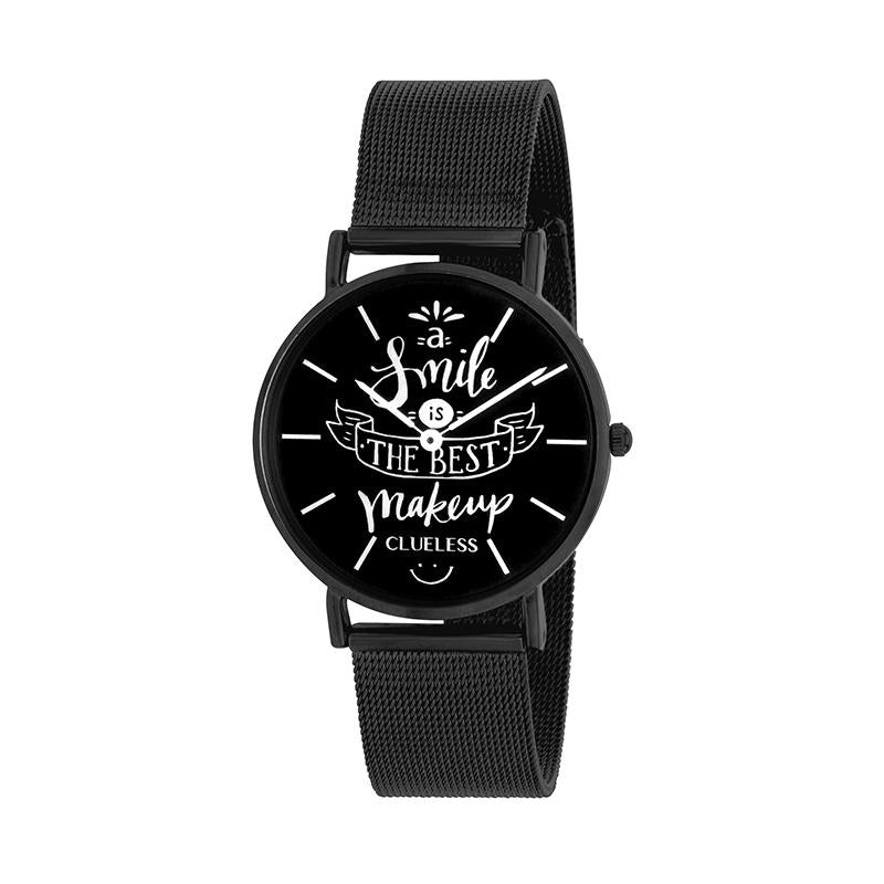 Clueless Montre Femme - Collection Happy - Cuir Noir - Cadran Stainless Steel | BCL10034-952