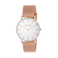 Clueless Montre Femme - Collection Classic - Mesh Or Rose - Cadran Argent | BCL10004-303