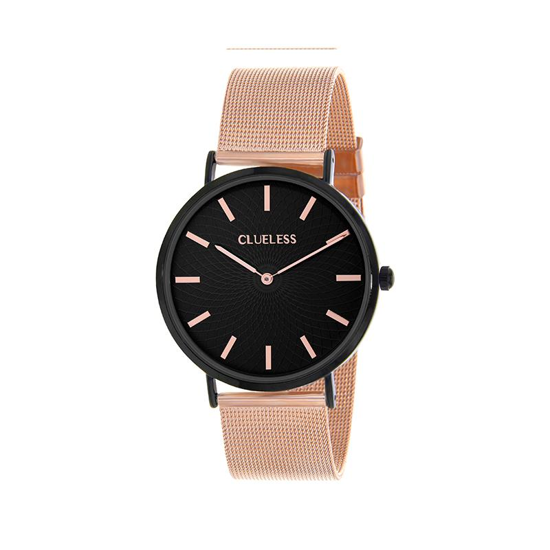 Clueless Montre Femme - Collection Classic - Mesh Or Rose - Cadran Noir | BCL10004-305
