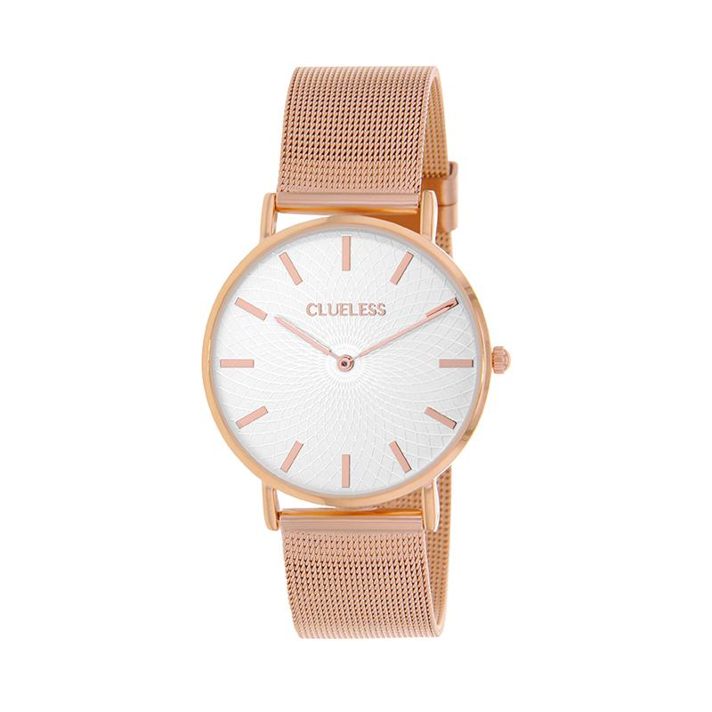 Clueless Montre Femme - Collection Classic - Mesh Or Rose - Cadran Argent | BCL10004-801