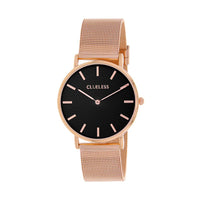 Clueless Montre Femme - Collection Classic - Mesh Or Rose - Cadran Noir | BCL10004-803