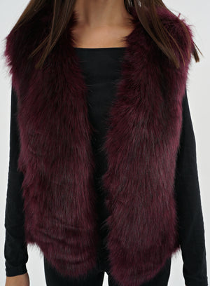 Burgundy Faux Fur Gilet