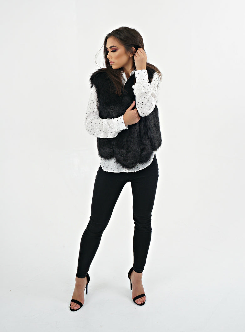 Black Faux Fur Gilet
