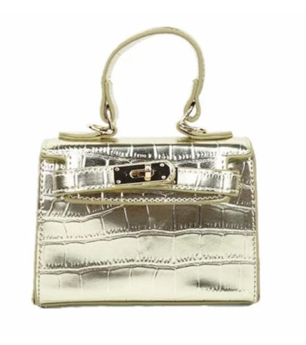 Ava Mini Croc Bag in Gold