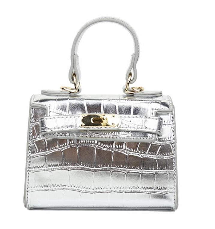 Ava Mini Croc Bag in Silver