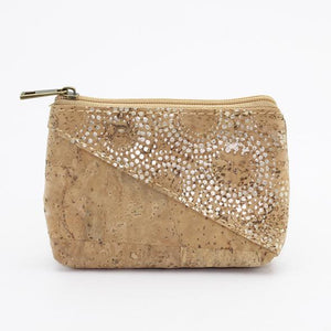 Vegan friendly cork change purse silver