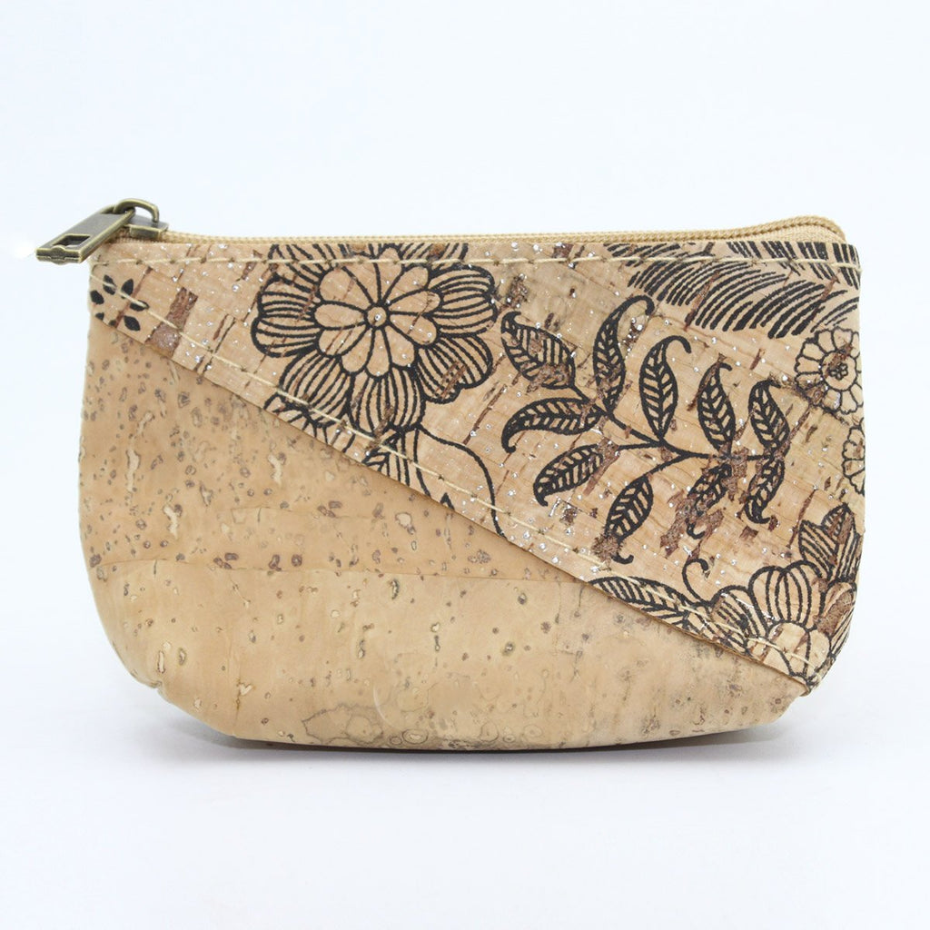 Eco Ninjas Vegan friendly cork change purse black flower