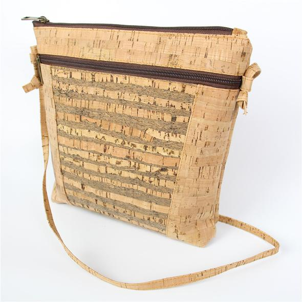 Eco Ninjas vegan leather cork bag cross strip pattern