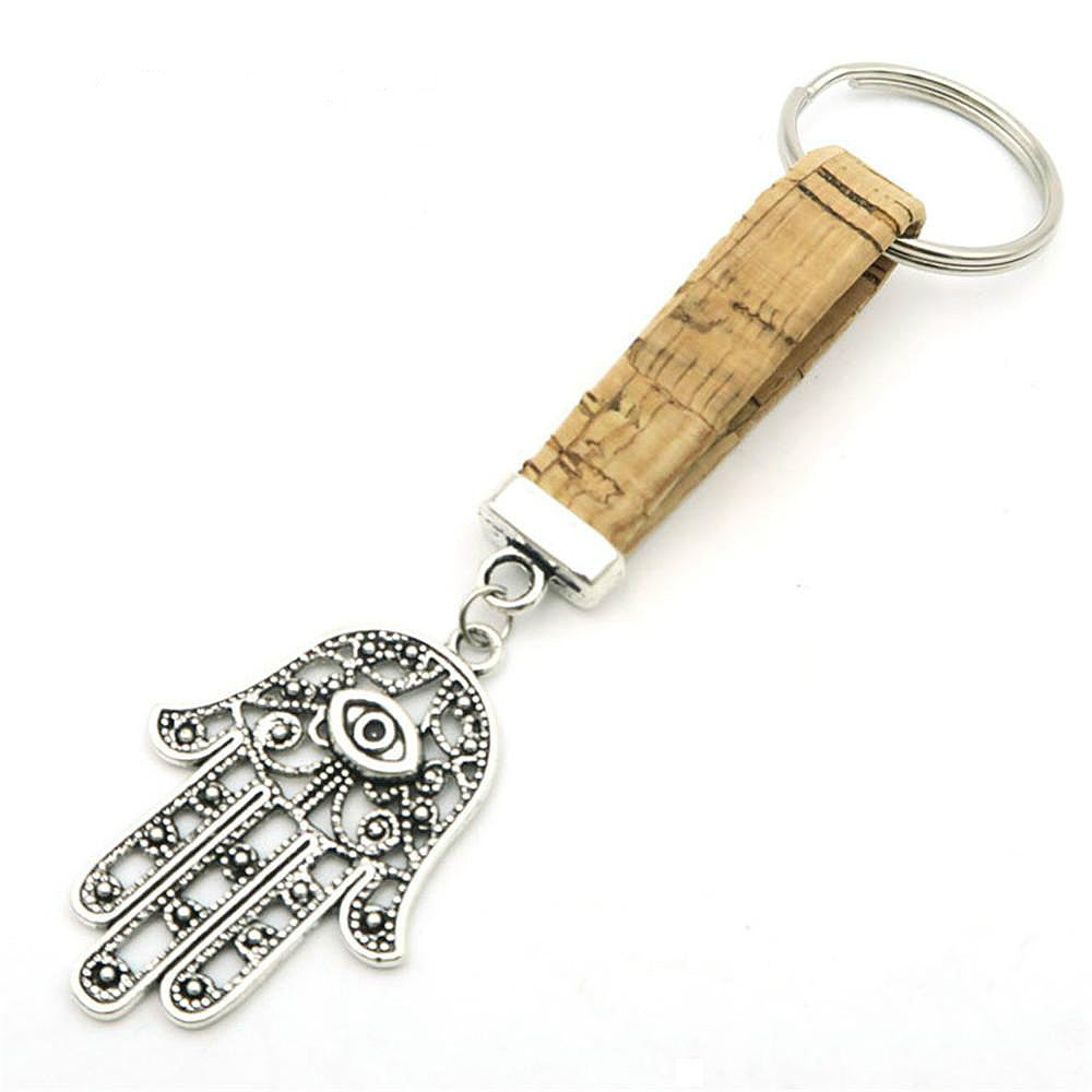 Eco Ninjas Vegan leather cork Hand of Fatima keychain