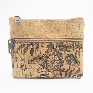 Eco Ninjas Vegan leather cork change purse black flower