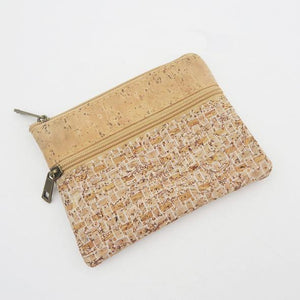 Eco Ninjas Vegan friendly cork change purse white weave
