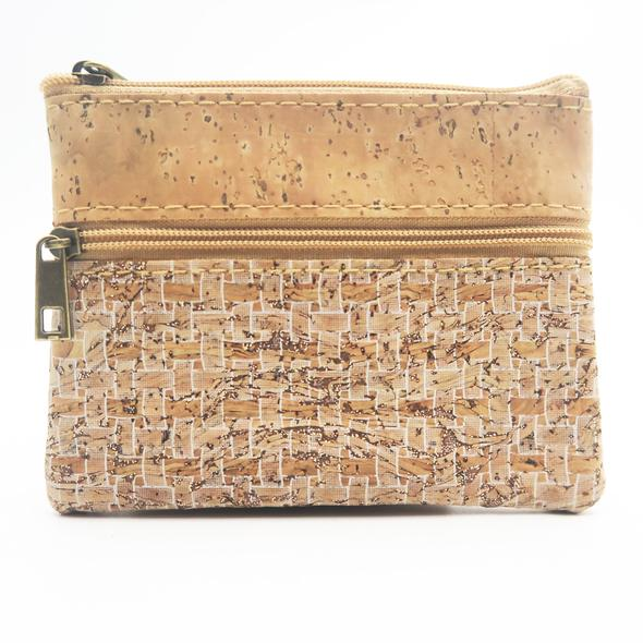 Eco Ninjas Vegan leather cork change purse white weave
