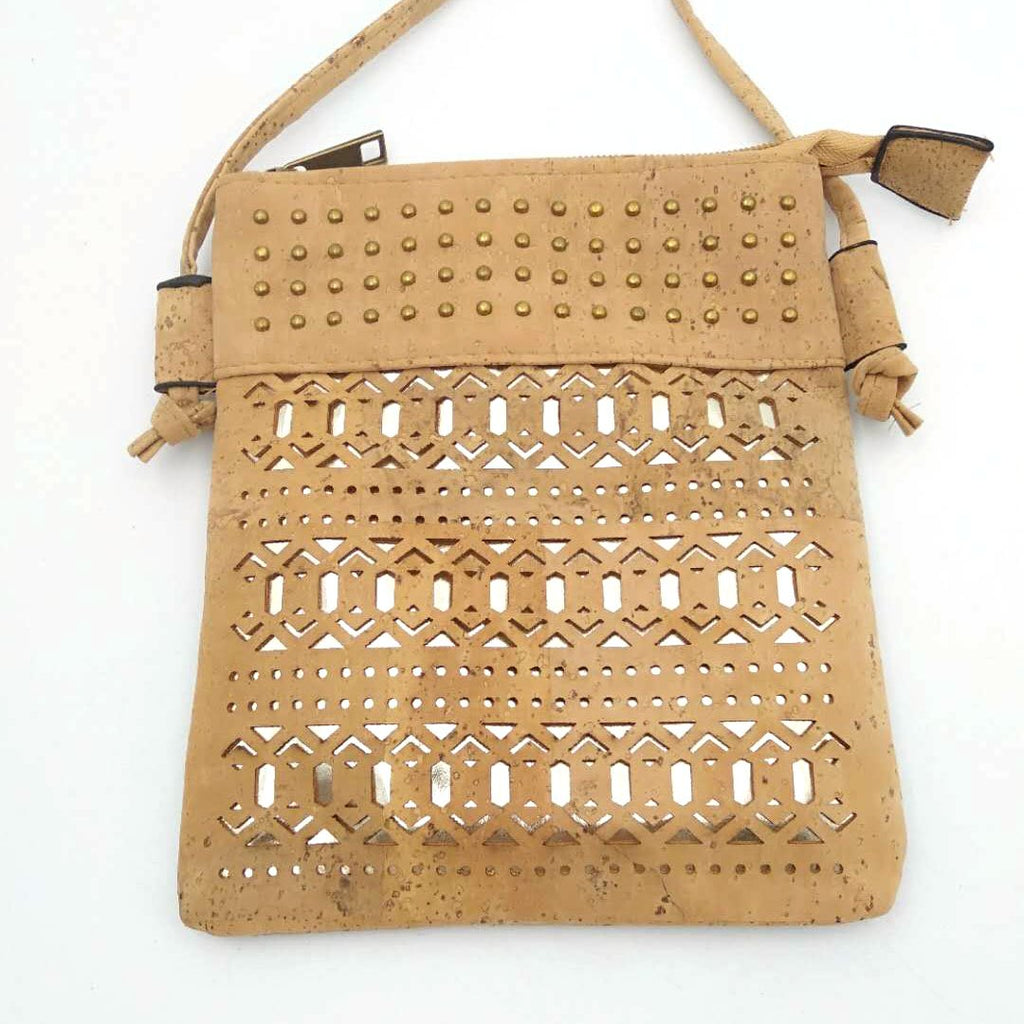 Eco Ninjas vegan leather cork crossbody bag lazer cut