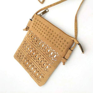 Eco Ninjas vegan leather cork cross body bag lazer cut