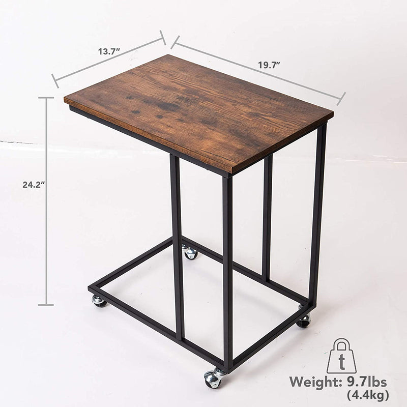Wheel End Table, Mobile C Side Table with Rolling Casters, Steel Frame