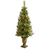 Pre-lit Christmas Tree 4ft Artificial Potted Fir with Lights Holly Berries Pine Cones Stands