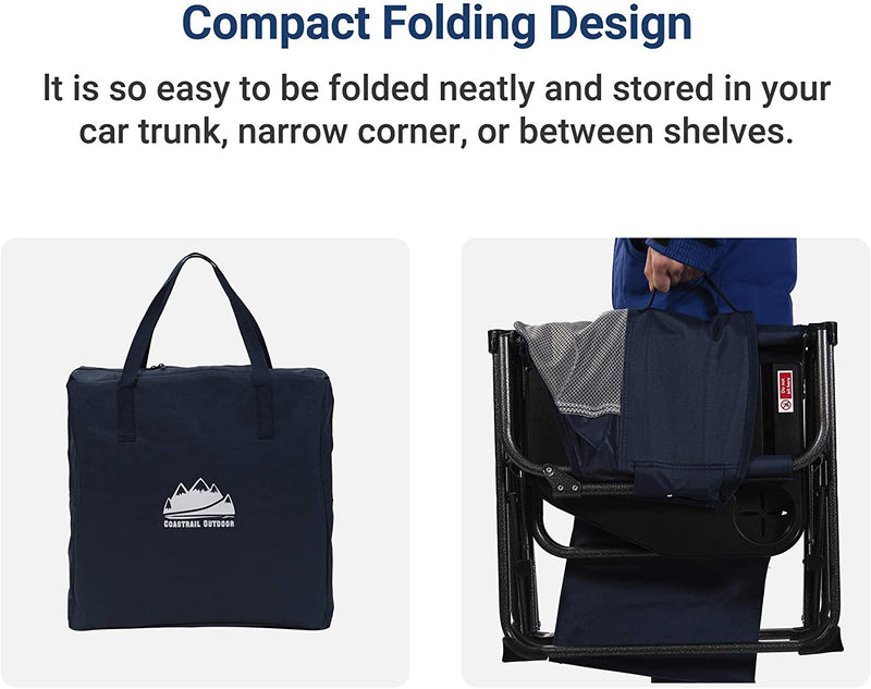 Extra Compact Folding Directors Camping Chair with Breathable Mesh Back